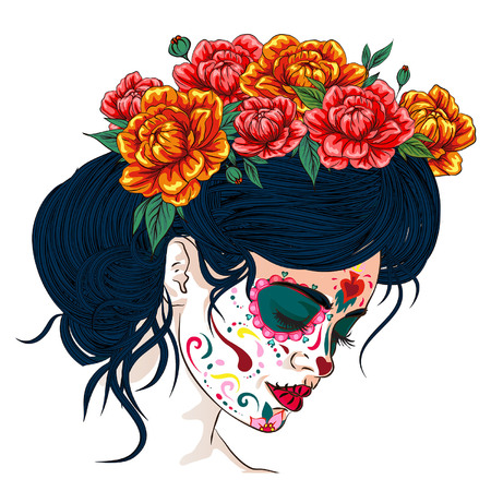 Illustration pour dia de los muertos day of the dead mexican holiday festival vector poster banner and card with, anta muerte woman make up sugar skull girl face with flowers wreath hand drawn - image libre de droit