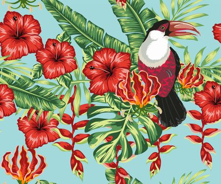 Illustration pour Beautiful seamless vector floral summer pattern background with toucan, palm leaves, hibiscus, plumeria. Ideal for wallpapers, background web pages, surface textures, textiles. - image libre de droit