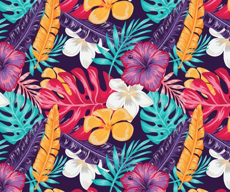 Illustration pour Trend seamless pattern with colorful tropical leaves and plants on a blue background. Vector design print of the jungle. Floral background. Printing and textile. Exotic tropics. Fresh design. - image libre de droit