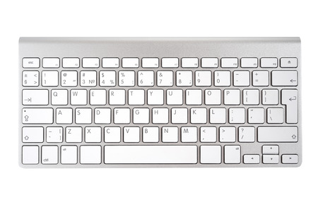 Aluminum computer keyboard isolated on white background