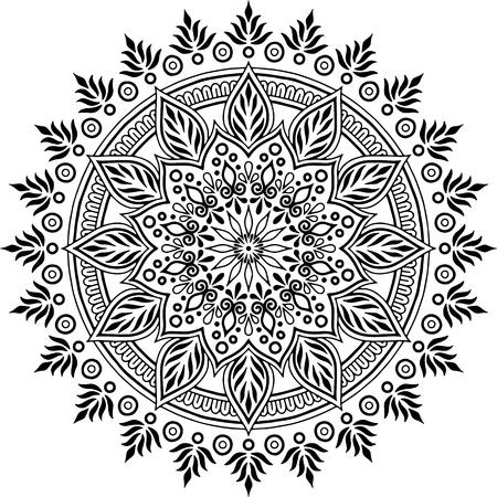 Illustration pour Mandala pattern black and white doodles sketch good mood - image libre de droit