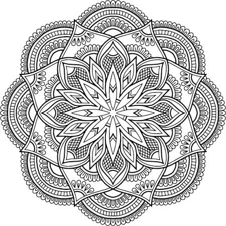 Illustration pour Figure mandala for coloring doodles sketch good mood - image libre de droit