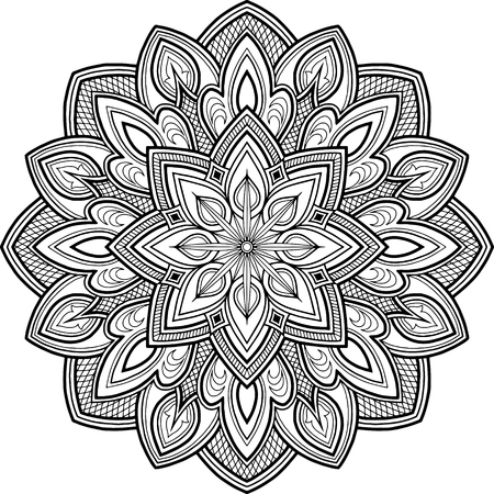 Illustration pour Mandala pattern black and white doodles sketch - image libre de droit
