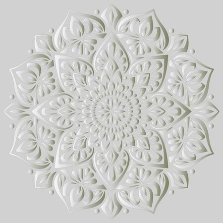 Illustration for Mandala pattern white 3D gradient good mood. Good for creative and greeting cards, posters, flyers, banners and covers - Royalty Free Image