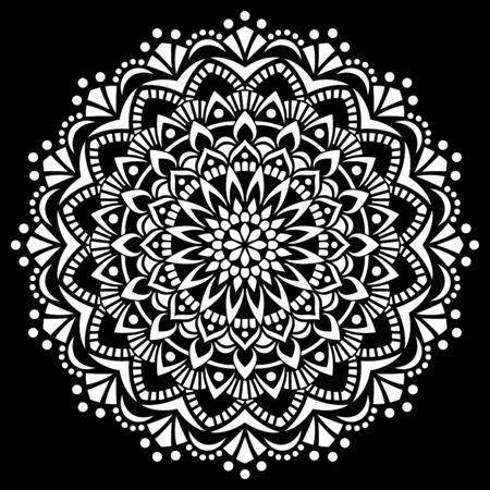 Illustration pour White mandala on black Pattern Stencil Doodles Sketch Good mood - image libre de droit