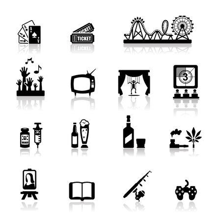 Icons set fun and entertainment