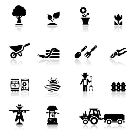 Icons set Gardening and agriculture