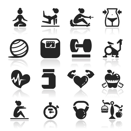 Photo for Fitness icons set - Elegant series - Royalty Free Image