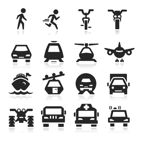 transportation icons set - Elegant series