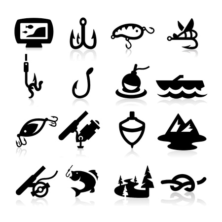 Fishing Icons set - Elegant series