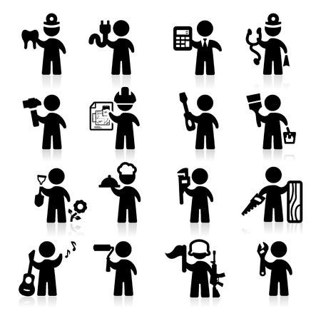 Jobs icons set Elegant series