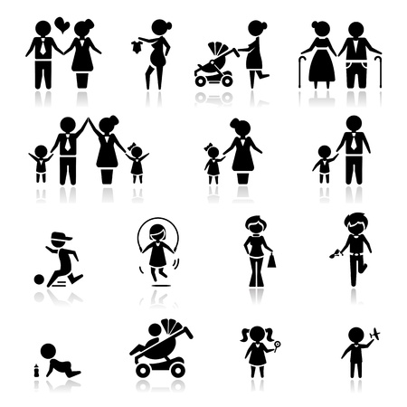 Icons set people and familyのイラスト素材
