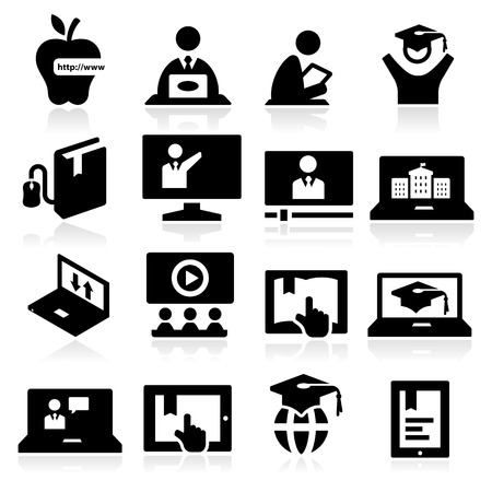 Illustration for Online Education Icons - Royalty Free Image