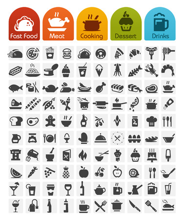 Food Icons bulk series - 100 iconsのイラスト素材