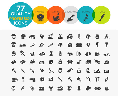 Profession Icons including Framing, Painting, Bricklaying, Sewing and tools