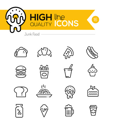 Junk Food Line Icons including: fast food, sugar, alcohol etc..