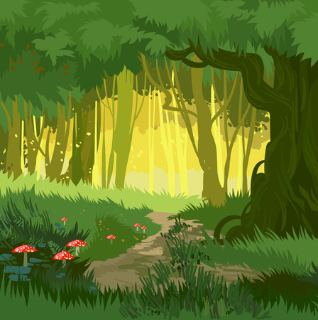 Illustration pour Fabulous bright green summer forest vector background jungle with toadstool and mushrooms and forest path cartoon style - image libre de droit