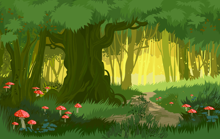 Illustration pour Vector illustration bright green summer magical forest vector background mushrooms - image libre de droit