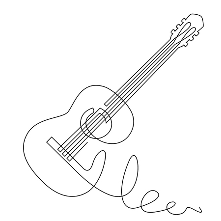 Illustration for continuous line drawing of acoustic guitar vector. Musical instrument for decoration, design, invitation jazz festival, music shop. - Royalty Free Image