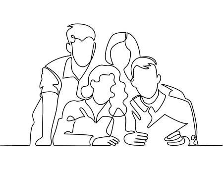 Ilustración de Continuous line drawing of business team or united family - Imagen libre de derechos