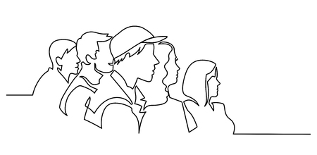 Illustrazione per Continuous Line Drawing of Vector illustration character of audience in the conference hall background with blank space for your text and design. Outline, thin line art, hand drawn sketch. - Immagini Royalty Free