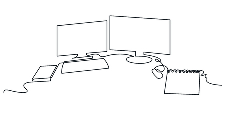 Ilustración de Modern workspace continuous one line vector drawing. Desktop hand drawn silhouette. Two computer monitors with keyboard, mouse and notebook. Workplace essentials. Minimalistic contour illustration - Imagen libre de derechos