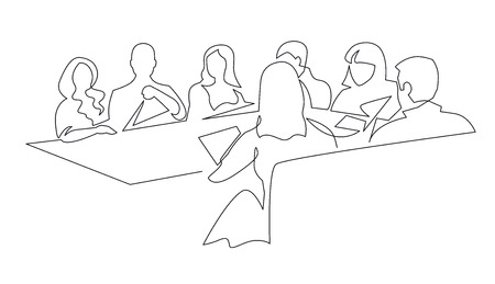 Illustration pour Business team meeting continuous line drawing. Coworkers discussing business development. Coworking, cooperation minimalistic outline illustration. Corporate partnership, colleagues communication - image libre de droit