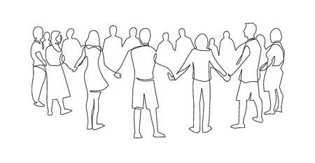 Ilustración de Unity, friendship continuous single line drawing. People, friends holding hands together. Community cooperation, society connection. Support, teamwork, round dance. Hand drawn outline illustration - Imagen libre de derechos