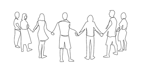 Illustration for Unity, friendship continuous single line drawing. People, friends holding hands together. Community cooperation, society connection. Support, teamwork, round dance. Hand drawn outline illustration - Royalty Free Image