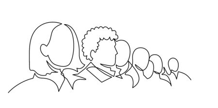 Ilustración de Group of people continuous one line vector drawing. Crowd standing at concert, meeting. - Imagen libre de derechos