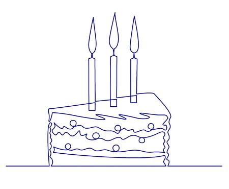 Enjoyable Continuous One Line Drawing Piece Of Birthday Cake With Three Personalised Birthday Cards Petedlily Jamesorg