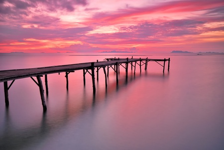 nice seascape of ocean bridge at twilight time.