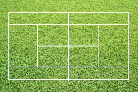 grass tennis court on white background.