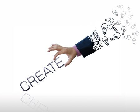 Creative artwork of business hand with business wording.