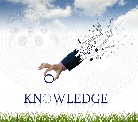 art work of business hand with the  knowledge  word with nature background.