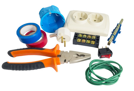 Photo pour Electrician tools, cable, box for installation of sockets and disassembled outlet before installing - image libre de droit