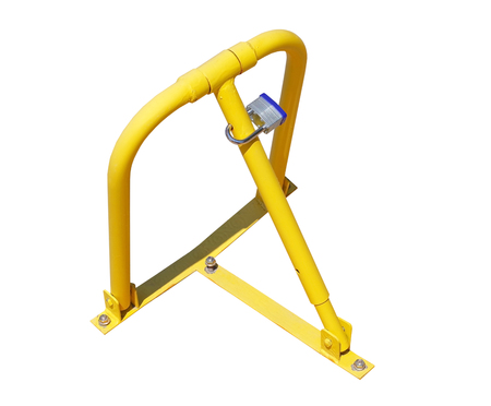 yellow parking barrier on white background