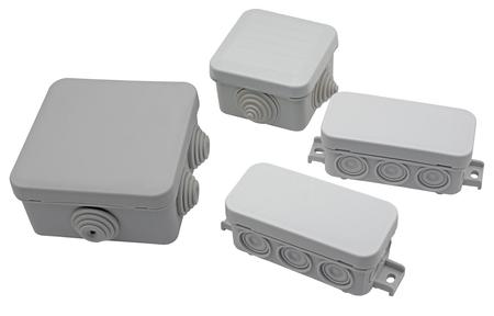 Foto de plastic electrical junction boxes isolated on white background - Imagen libre de derechos