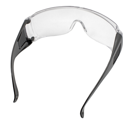 Foto de Black plastic protective work glasses isolated on a white background - Imagen libre de derechos