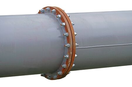 Photo pour Pipe flange with bolts connecting between pipe and water tank - image libre de droit