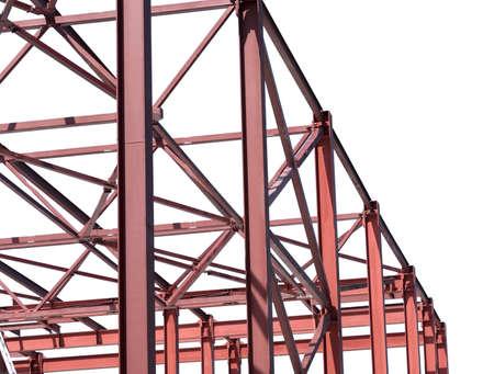 Photo pour Steel Frames of A Building Under Construction on white background - image libre de droit