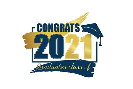 Class of 2021. Hand drawn brush gold stripe and number with education academic cap. Template for graduation design frame, high school or college congratulation graduate, yearbook. Vector illustration.