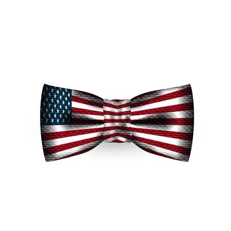 Men bow tie USA flag texture on white background. Necktie selfie filter effect for social photo. Cloth butterfly textile texture. Gentleman suit element. Silk, satin bowtie. Vector illustration.