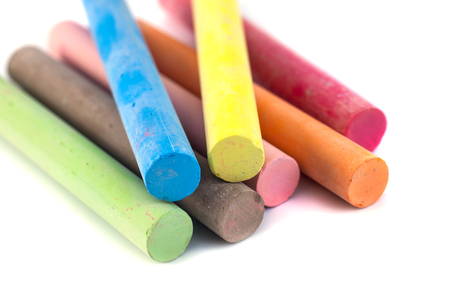 Photo pour Colored chalks on white background with soft shadows. - image libre de droit