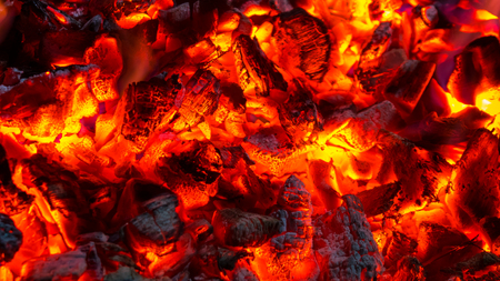 Photo for Background of burning hot coals, actively smoldering embers of fire. - Royalty Free Image