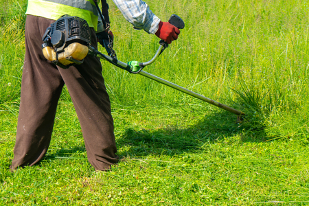Foto per The gardener cutting grass by lawn mower, lawn care. Nature - Immagine Royalty Free