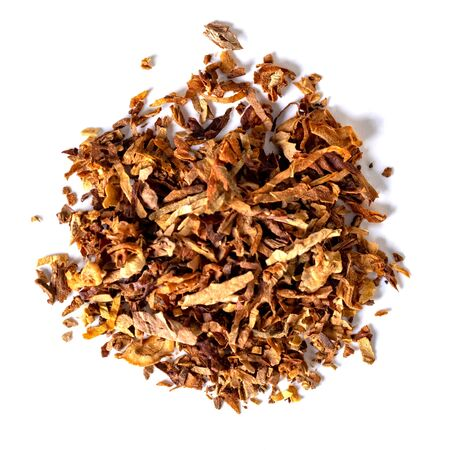 Photo pour dried smoking tobacco Isolated on a white background. top view. - image libre de droit
