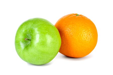 Photo for Green apple and orange isolated on white background. Healthy food. - Royalty Free Image