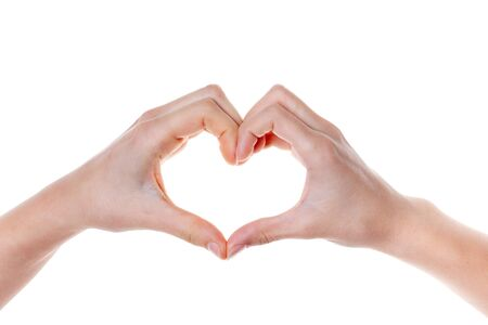 Photo pour Woman hand making a heart shape. isolated on white background - image libre de droit