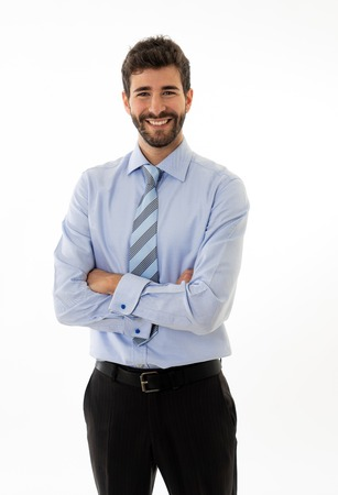 Photo pour Half-length portrait of happy handsome caucasian businessman in fashion modern formal wear suit looking confident and welcoming. Isolated in white. Concept of People leadership and success. - image libre de droit